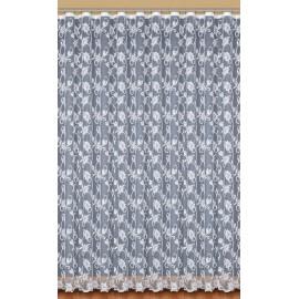 Firanka żakardowa biała GOŹDZIKI wys.320 cm